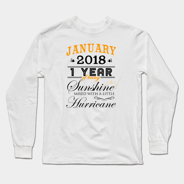 d520e21eb1 January 2018 Shirt, 1st Wedding Anniversary, 1 Year of Marriage Long Sleeve  T-Shirt