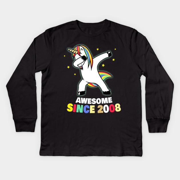 Since 2008 Unicorn 9th Birthday Shirt Kids Long Sleeve T