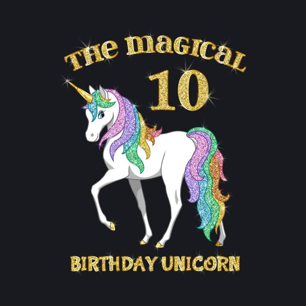 Cute Rainbow & Gold Unicorn 10th Birthday Girl