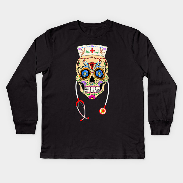Day Of The Dead Halloween Costume Gift Top Girls Boys Kids Candy Skull T Shirt