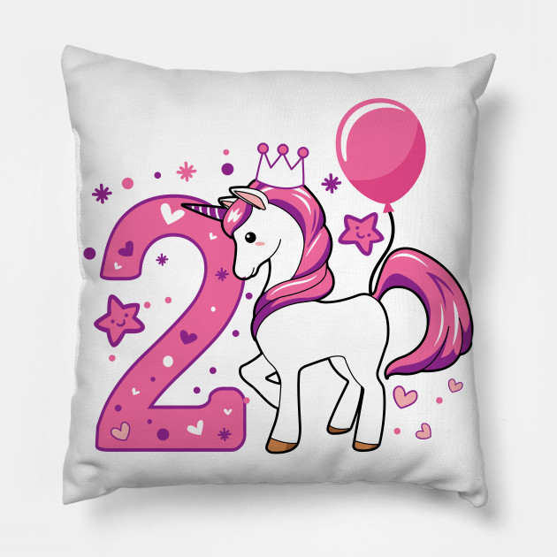 Second Birthday Girls Horse 2nd 2Girl Daughter Niece Cute Sweet Year Old Gifts Kids Pillow