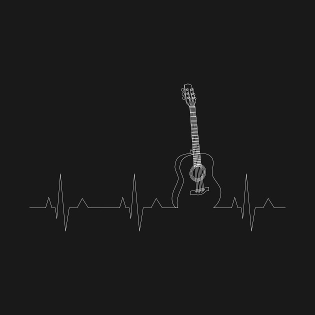 Acoustic Guitar T-Shirt Cool Musician Tee Heartbeat Pulse