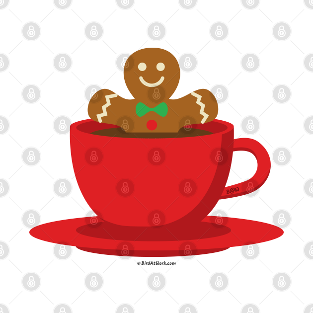 Gingerbread Man Relaxing In A Hot Chocolate Red Cup