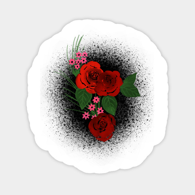 Red Roses On The Black Background Roses Sticker Teepublic Uk