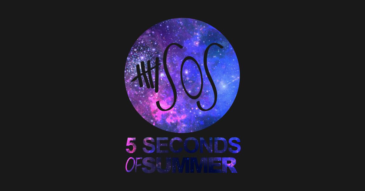 589c553eb656 5SOS Five Seconds Of Summer Logo Circle Galaxy White Long Sleeve T-Shirt
