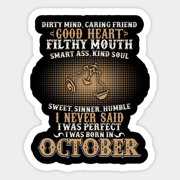 Funny October Shirts For Men Libra Birthday Sticker