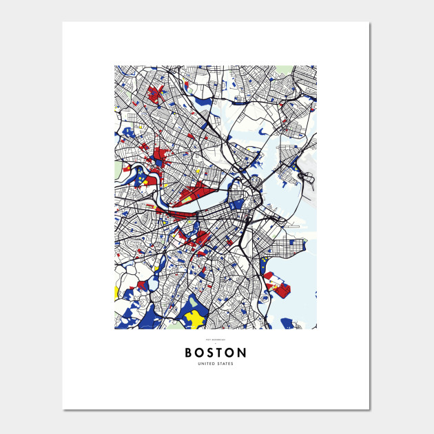 Boston (United States) Map x Piet Mondrian on usa states map, hungary states map, red states map, un states map, so states map, union states map, best states map, hot states map, german states map,