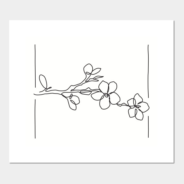 830dbd0798aad Cherry Blossom Line Drawing - Black