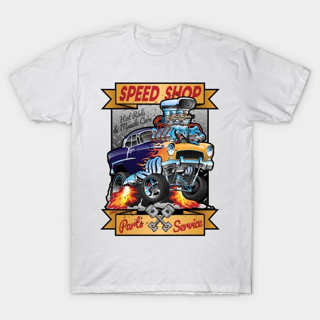 Auto T-Shirt Hot Rod Vintage Racing Garage Rockabilly Speed Shop *1092 rot