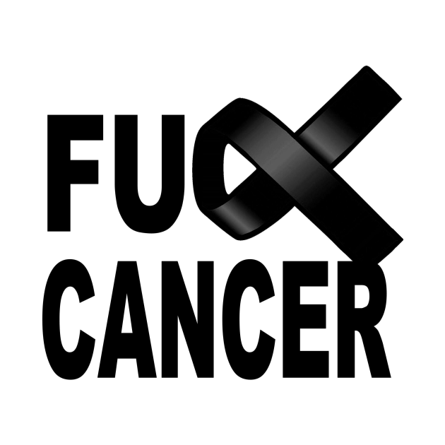 Fuck Cancer design with black ribbon for awareness and fighting disease
