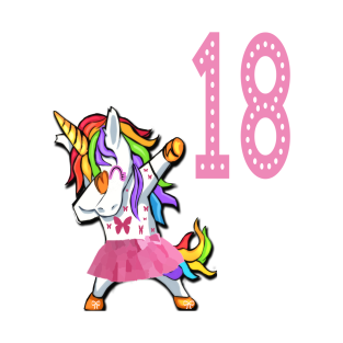 18th Birthday Dabbing Unicorn Girl For 18 Years Old Young Woman Lady T Shirt