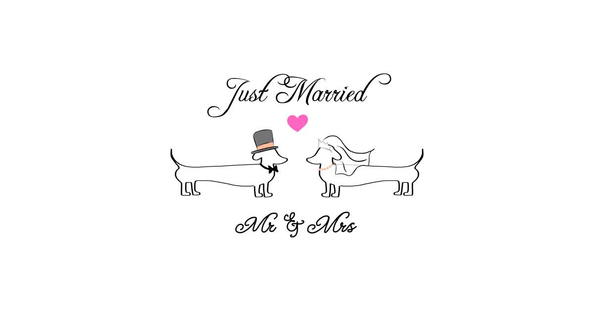 mr  u0026 mrs dachshund - bride and groom