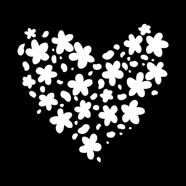 Cute White Flower Silhouette Heart Shaped Flowers Mug Teepublic