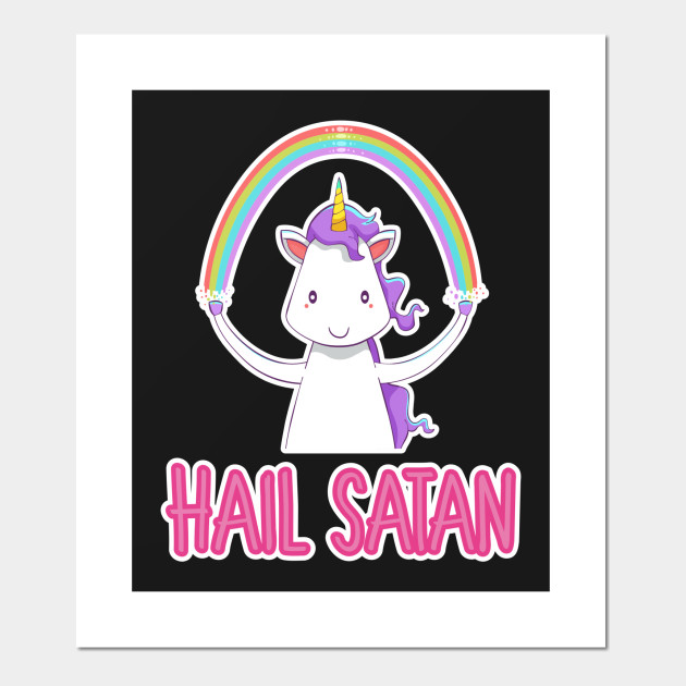 Hail Satan Tee Shirt Unicorn Funny Design Art