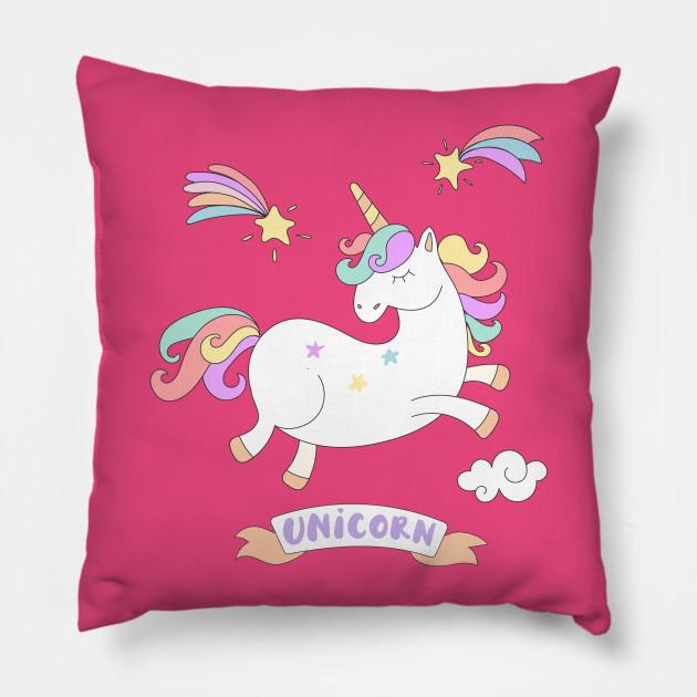 Cute Jumping Colorful Unicorn - Unicorn - Pillow | TeePublic
