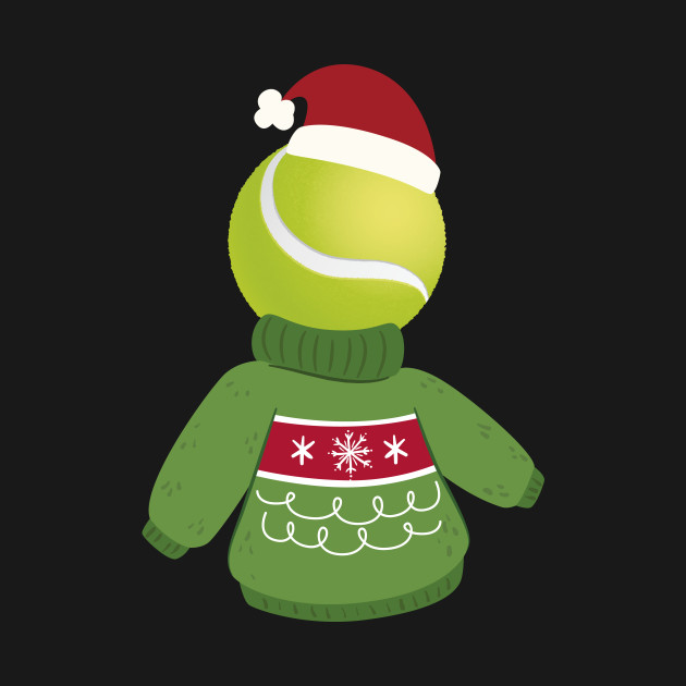 Tennis Ball with a Funny Sweater and Christmas Hat