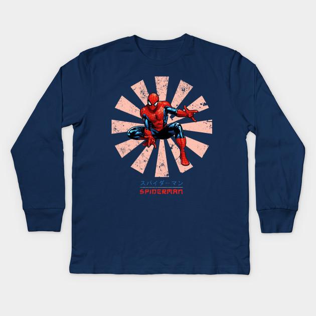 8c05c0dc Spiderman Retro Japanese Marvel - Spider Man - Kids Long Sleeve T ...