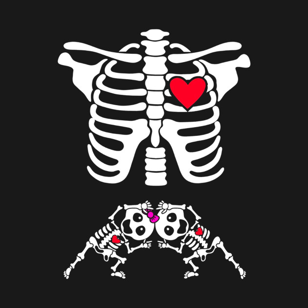 5c2f4f883 ... Pregnant Skeleton Twin Costume Halloween Shirt boy and girl