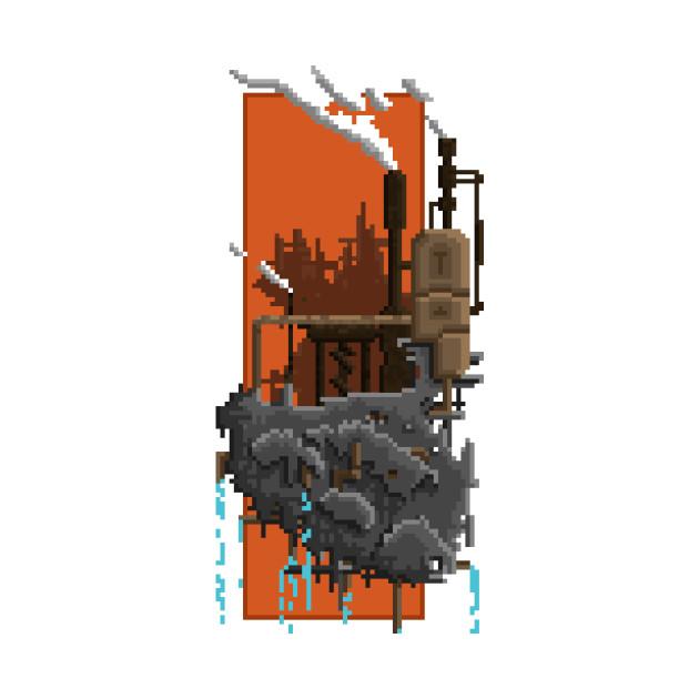 Pixel Landscape : Steam Factory - Pixel - T-Shirt