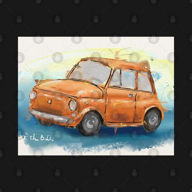 Classic Iconic Orange Fiat 500 Loose Painting
