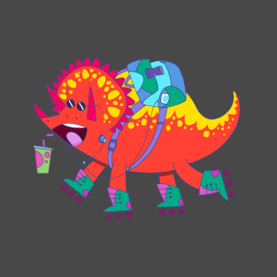 Super Happy Roller Triceratops t-shirts