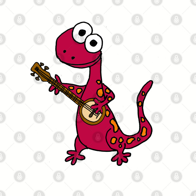 Funny Purple Salamander Playing the Banjo
