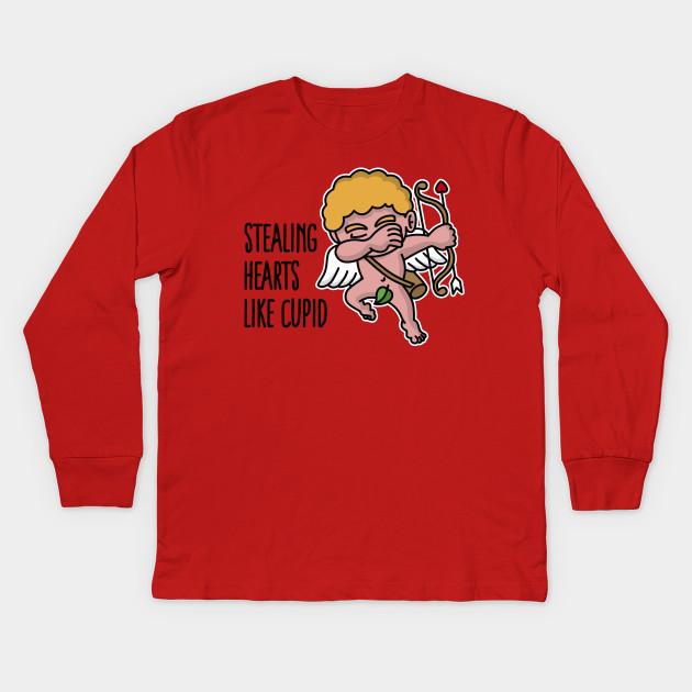 352e97ae1e6 Stealing hearts like cupid - Valentine s day dab Kids Long Sleeve T-Shirt