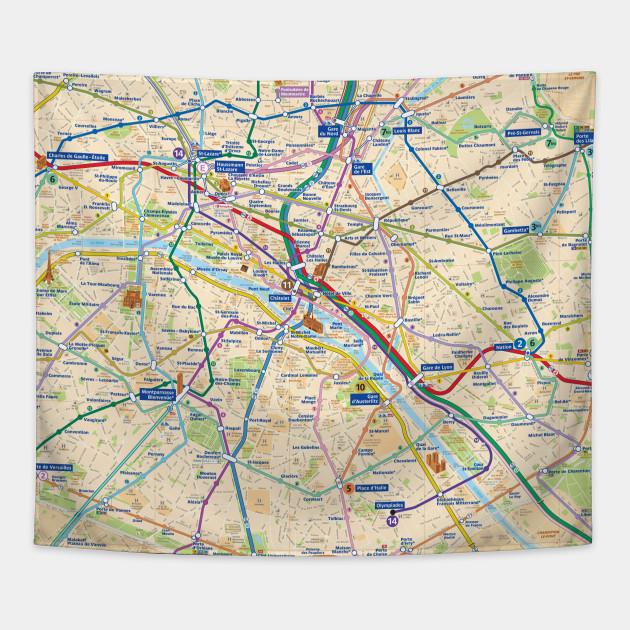 Paris Subway Map With Streets France Paris Subway Map France