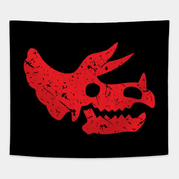 Red Distressed Triceratops Skull Dinosaur Fossil