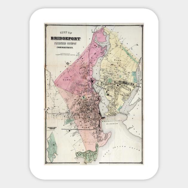 Vintage Map of Bridgeport CT (1867) - Bridgeport Map - Sticker ...