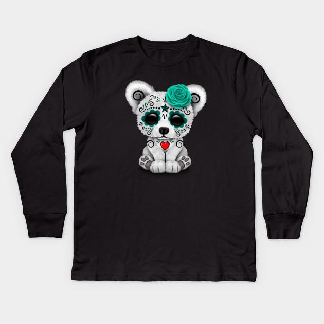 Teal Blue Day of the Dead Sugar Skull Polar Bear