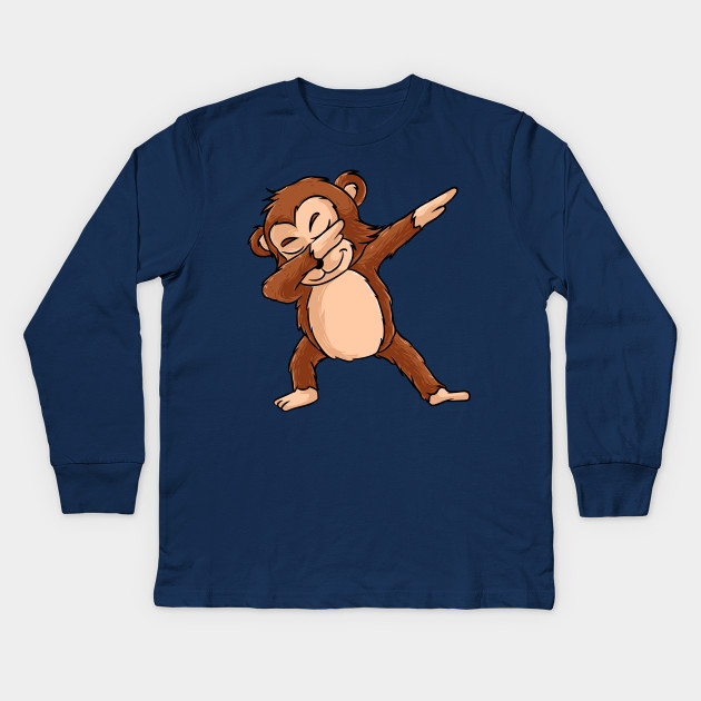 b269cb49 Cute Dabbing Monkey Shirt Funny Monkey Dab Tshirt Gift Kids Long Sleeve T- Shirt