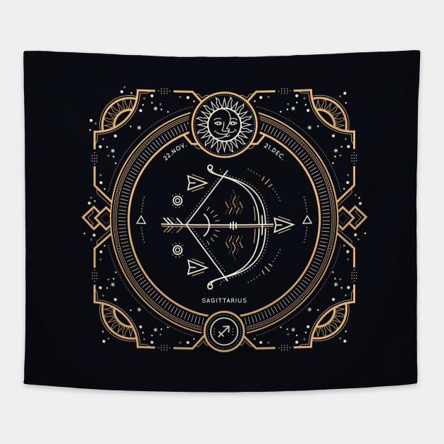 Sagittarius Zodiac Gold White with Black Background
