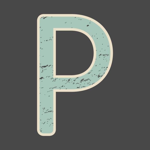 Letter P Vintage Distressed Initial Monogram T-Shirt