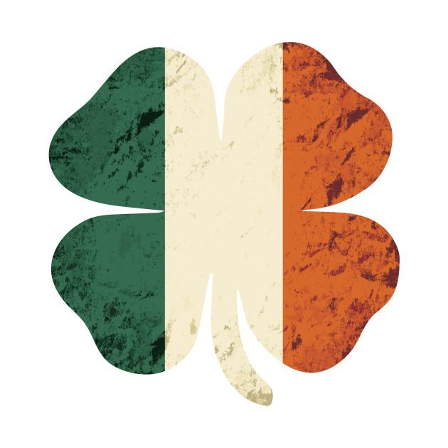 Irish Shamrock Ireland Flag St Patricks Day Vintage Retro Style