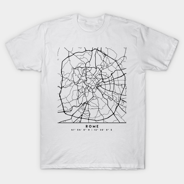 Map Of Italy Black And White.Rome Italy Black City Street Map Art