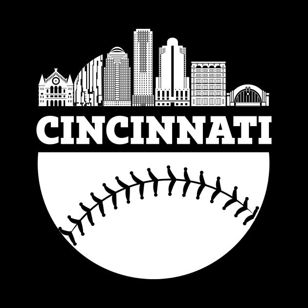 Cincinnati OH Baseball Skyline  Vintage Retro print