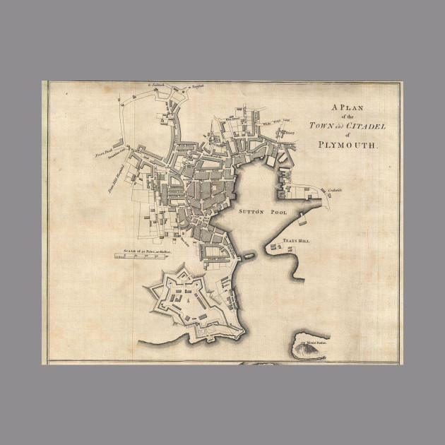 Vintage Map Of Plymouth England 1765 Plymouth Map Hoodie