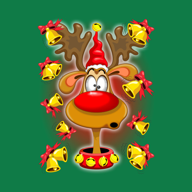 Reindeer Fun Christmas Cartoon with Bells