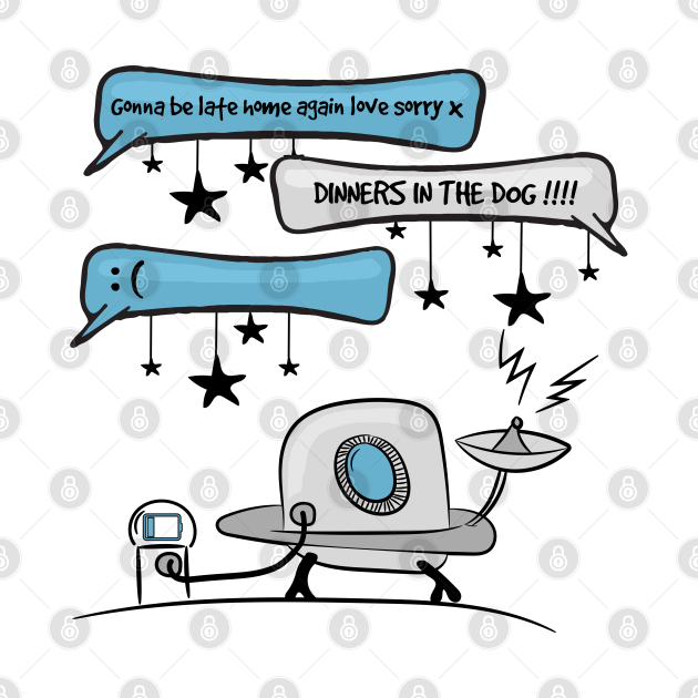 Texting space alien comic and cartoon design