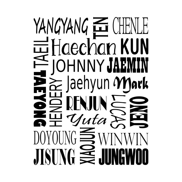 NCT NAMES COLLAGE BLACK