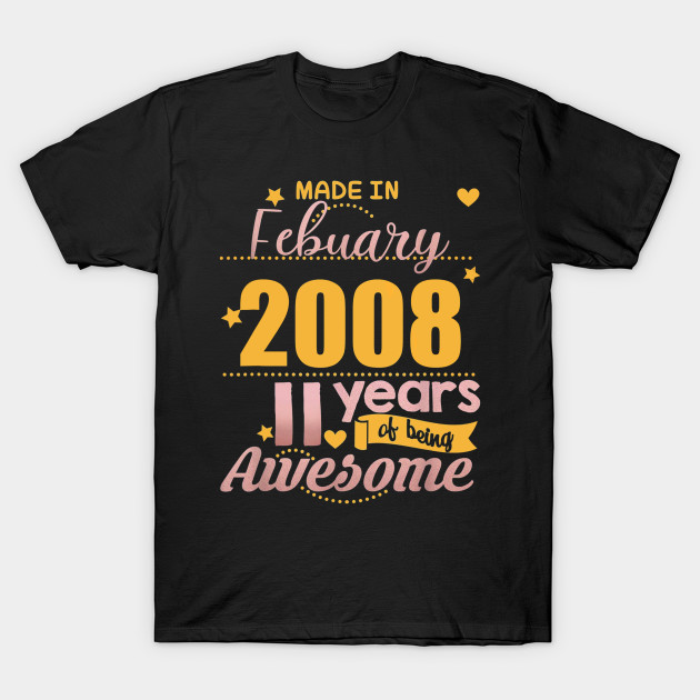 11th Birthday Shirt Girls February 11 Year Old Daughter Gift T