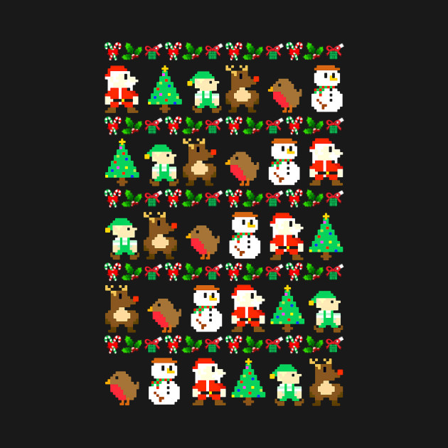 8-Bit Retro Video Game Ugly Christmas Sweater - Christmas ...