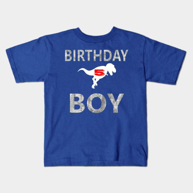 5th Birthday Shirt Boy Age 5 Dinosaur Theme Kids T