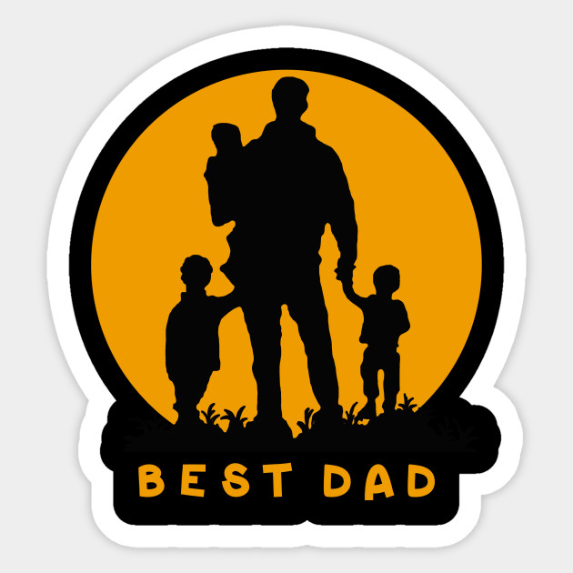 Best Dad Of 3 Kids Cool Gift For Fathers Day Sticker
