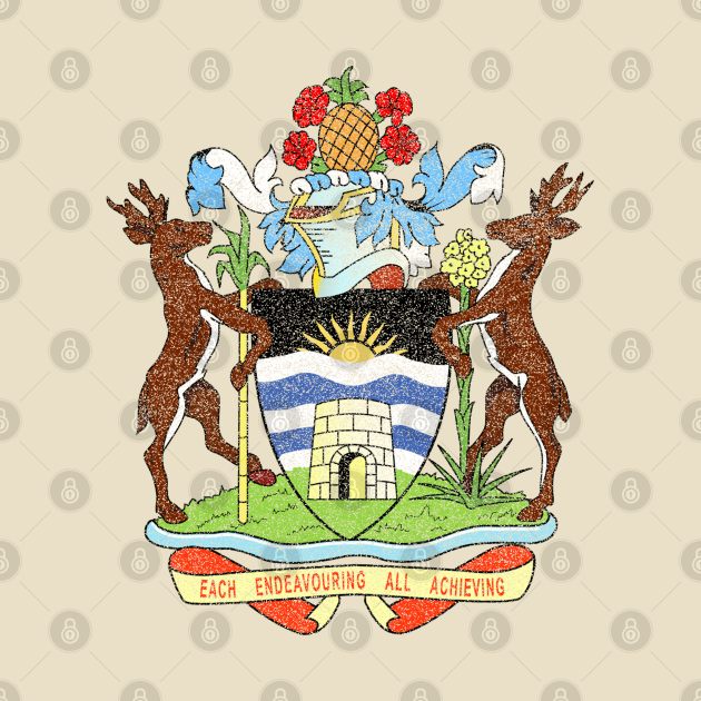 The Coat of Arms of Antigua and Barbuda, distressed