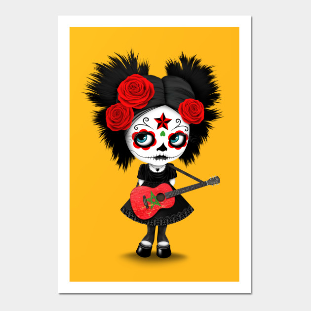 Sugar Skull Girl Playing Moroccan Flag Guitar - Cute Zombie Girl ...