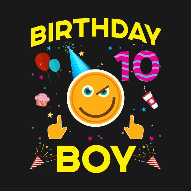 Kids Emoji 10th Birthday Boy T-Shirt Fun 10 Years Old Gift