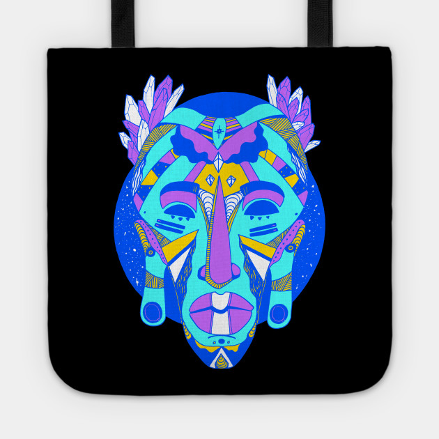 8f0df23a4b African Mask 1 - Blue Edition - African Mask - Tote