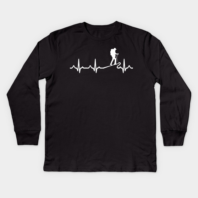 3ada8f5a7f9 Heartbeat Hiking In The Mountains- Mountaineer Gift Kids Long Sleeve T-Shirt
